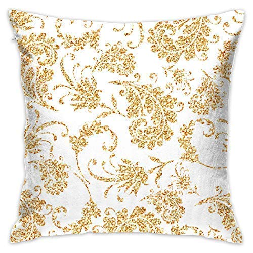 Yuanmeiju Decorative Throw Pillow Cover Glod Floral Texture Cushion Covers Pillow Cases for Sofa Bedroom Car Chair 18 X 18 Inch