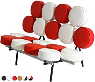 MLF® George Nelson Style Marshmallow Sofa in Premium Italian Leather (Red and White) (7 Colors)