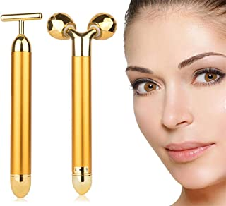 AMULISS 24k Gold Skin Care Face Massager 3D Roller Electric Depuffer Energy Beauty Bar Package Combination