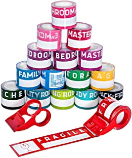 Home Moving Tape/Home Moving Labels, 12800 inch (16 Rolls x 800 inch), Color Coded Tape/Labels, Supplies for Boxes, Packing Stickers