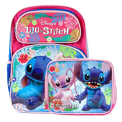 Disney Lilo and Stitch School Backpack 16' and Lunch Bag Set : Stitch and Angel (Pink)