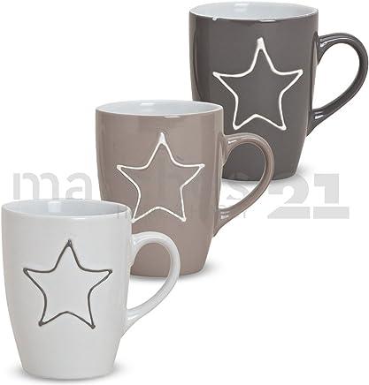 Preisvergleich für matches21 Becher Tassen Kaffeetassen Kaffeebecher Keramik Sterndekor Stern beige/grau/weiß 3er Set 10x8 cm / 250 ml