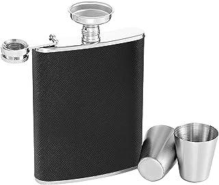 Flasque a Alcool, 7 oz Cuir Noir Fiole Alcool Portable Acier Inoxydable, 2pcs Tasses et 1pcs Entonnoir, Peut être Utilisé ...