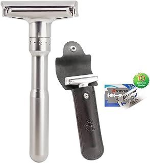 Safety Shaving Razor Kit Adjustable Double Edge for Men, Safety Razor with Genuine Leather Travel Case & 10pcs Blades, Eas...