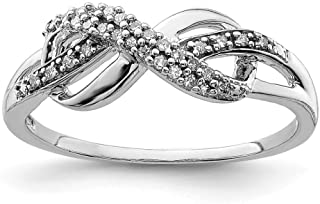 Plata de Ley Diamond símbolo de infinito anillo–Anillo Tamaño opciones gama: L a P