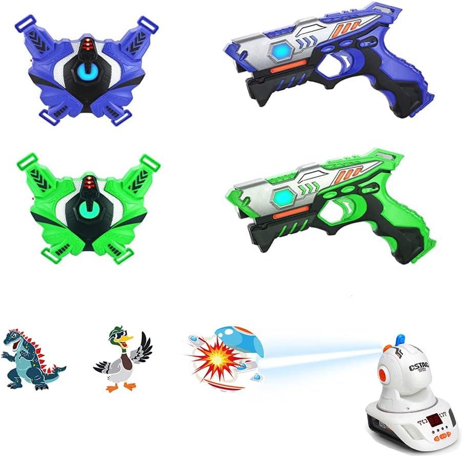 TINOTEEN Subfusil Juego de Pistolas con Chaleco y Proyector, Juego de Proyección de 2 Jugadores