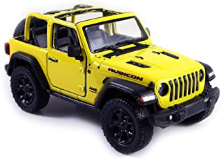 HCK Jeep Wrangler Rubicon 4x4 Convertible Off Road Exploration Diecast Model Toy Car Yellow