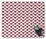 N\A Diseño Simple romántico monocromático de San Valentín Vintage de Corazones clásicos continuos, Alfombrilla de ratón Blanco Roto bermellón