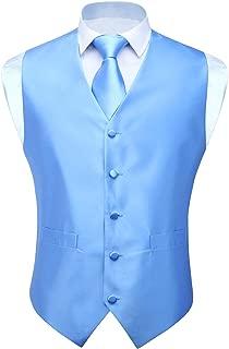 HISDERN 3pc Men's Solid Color Woven Dress Waistcoat & Necktie and Pocket Square Vest Suit Tuxedo Set