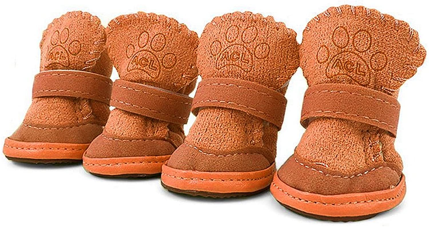 Asobilor Dog Boots, Puppy Dog shoes Paw Predector with Detachable Closure and AntiSlip Sole for Small Medium Dogs, Size1, Brown