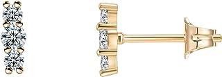 PAVOI 14K Gold Plated 925 Sterling Silver CZ Simulated Diamond Earrings Dainty Geometric Shape - Mini Bar, Halo, Lightning...
