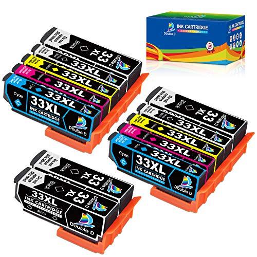 Double D Ersatz für Epson 33XL 33 XL Druckerpatronen für Epson Expression Premium XP-540 XP-830 XP-900 XP-645 XP-530 XP-630 XP-640 XP-7100, 4 Schwarz/2 Blau/2 Rot/2 Gelb/2 Foto-schwarz, 12er-Pack