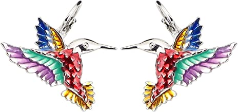 NEWEI Enamel Alloy Stud French Clip Hummingbird Earrings Fashion Cute Animal Jewelry For Women Girls Gift