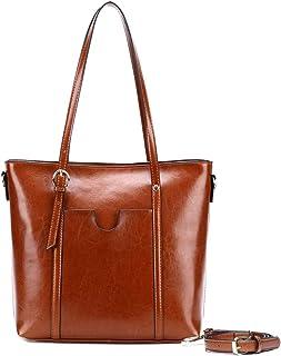 fzYRY Öl-Wachs-Kuhfell-Material, Frauen-Umhängetasche, Leder-Umhängetasche für Frauen, Lederhandtasche