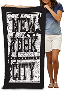 YILINGER Bath Towels New York City Streets Stamp Label Beach Towels 31.5