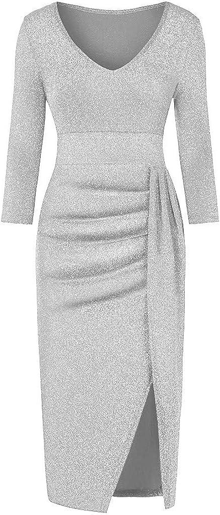 latest TOTAMALA Women Dresses Glitter Evening Casual San Jose Mall Formal Cold Should