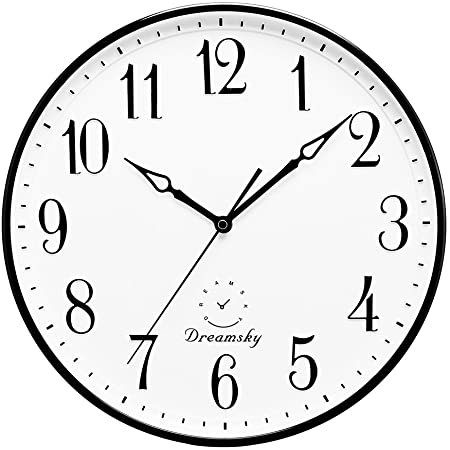 Amazon Com Dreamsky 13 5 Inches Extra Large Wall Clock Non Ticking Silent Decorative Indoor Kitchen Living Room Round Retro Clock Aa Battery Operated Clocks Home Kitchen