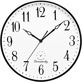 DreamSky 13.5 Inches Extra Large Wall Clock, Non-Ticking Silent Decorative Indoor Kitchen Living Room Round Retro Clock, AA Battery Operated Clocks.