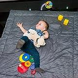 Baby Krabbeldecke & Activity Gym & Baby Spieldecke & Kuscheldecke für Junge & Mädchen • XXL - 120 x 120 cm • Gepolstert, reversibel licht/dunkel Grau mit Sternen • Faltbar •...
