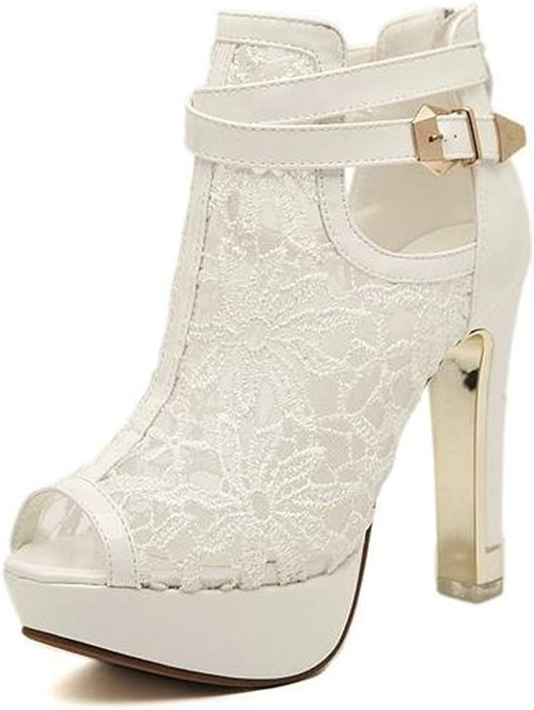 SunMMan Women's Lace Bridal High Heel Platform Peep Toe Satin Lace Elegant Lady