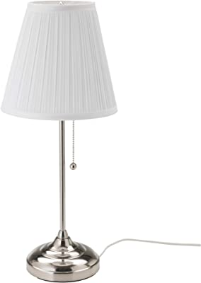 Table Lamp Brushed Nickel With White Lamp Shade Set By