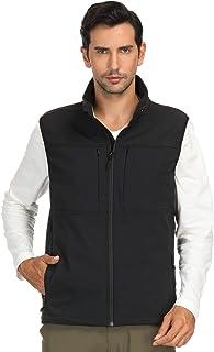 MIER Men's Lightweight Softshell Vest Hooded with 8 Pockets, Black