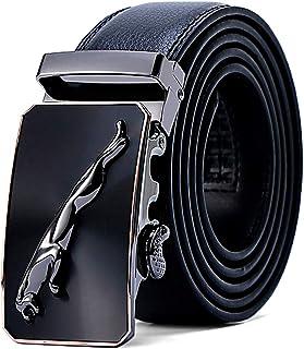 Mens Belt Genuine Leather Ratchet Belts for Men, Stylish Jaguar Metal Buckles Sliding Automatic Waist Belt Business Dress ...