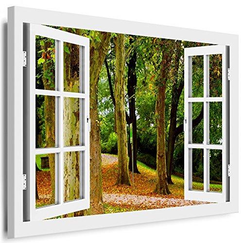 BOIKAL XXL115-4 Fensterblick Leinwand bild 3D Illusion - Fertig Gerahmte Bilder kein Poster - Wandbild 80 x 70 cm Weiß - Farbe Große 21 Variante wählbar - Fenster Kunstdruck Landschaft Wald-weg Herbst, Bäume