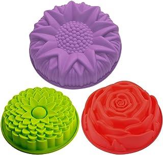 Lot de 3 moules en forme de fleurs en silicone pour gâteau, tarte, flan, Senhai Grande forme ronde de tournesol, chrysanth...