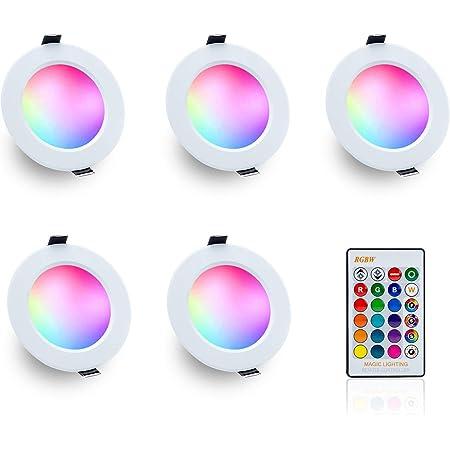 Yafido 5 Pack Spot LED Encastré 5W (équivalent 40W), Avec Télécommande RGBW IP44 Blanc Froid 6000K 230V, 16 Couleurs Réglables Rondes Dimmable LED