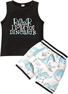 Baby Toddler Boys Summer Clothes 6 12 18 24 Months Outfits Dinosaur Vest & Shorts Sets Sleeveless Top