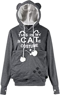 Pgojuni Women CAT Letter Printed Thicker Velvet Hoodie Plus Size Drawstring Sweatshirt