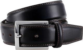 LINDENMANN Mens Leather Belt/Mens Belt, full grain leather belt curved, espresso