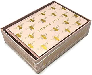 Molly & Rex Gold Foiled Bee Thank You Note Cards and Matching Envelopes - Set of 12