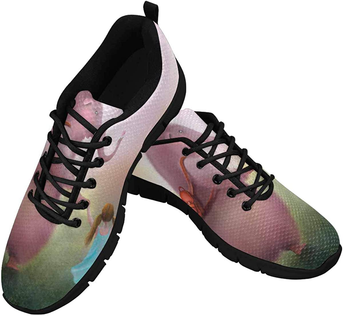 INTERESTPRINT The Elephant and Girl Women's Sale price Li Outlet ☆ Free Shipping Walking Shoes