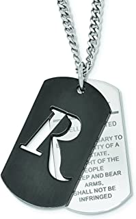 Stainless Steel Black IP 2nd Amendment Dog Tag Necklace