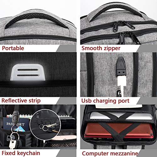 Laptop Rucksack mit USB Ladeanschluss,Tarnung Camouflage Daypack Schultaschen Rucksäcke Schulrucksäcke Schulranzen Taschen für Teenager Mädchen Jungen (Grau)