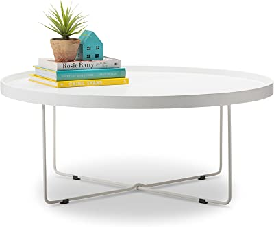 L3 Home Hover Round Tray Minimalist Coffee Table, 90cm, White