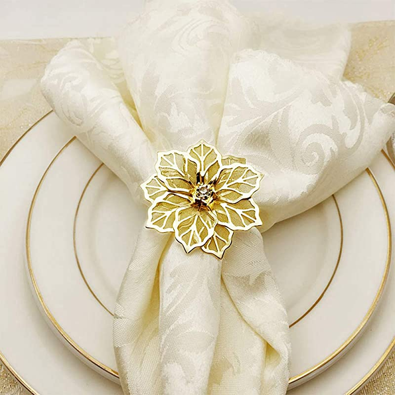 JYCRAFT Gold Color Flower Shape Table Napkin Ring Hollowed Out Flower Inlaid With Rhinestone Glam Bling Metal Napkin Rings Set 6