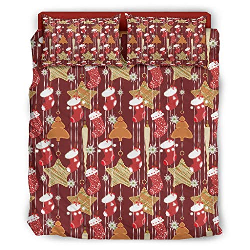Qunrontan Christmas Socks Star Red Warm Bed Set Luxury Bedding Wrinkle-Free for Kids & Adults white 240x264cm