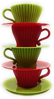 Set of 4 Red and Green Seasonal Christmas Holiday Silicone Teacup and Saucer Candy Baking Mold
