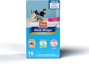 Hartz Disposable Male Dog Wraps with FlashDry Gel Technology, M 16 Count