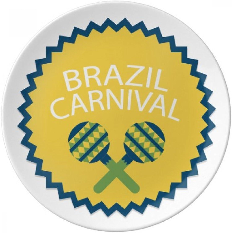 Instrument Celebrate Brazil Carnival Dessert Plate Decorative Porcelain 8 inch Dinner Home