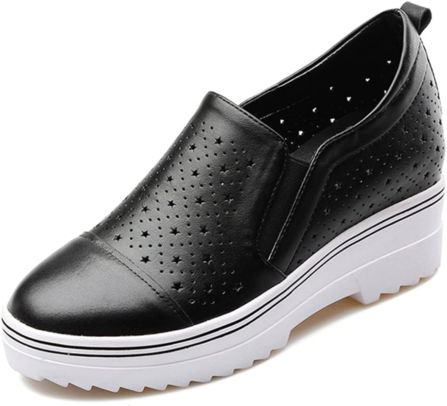 Lok Fu leather shoes Leisure breathable hollow leather shoes within the higher
