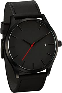 Clearance! Charberry Mens Watch Popular Low-Key Minimalist Connotation Leather Quartz Watch (A)