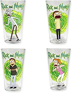 Rick and Morty Multi-Character Pint Glasses, Set of 4, 16oz