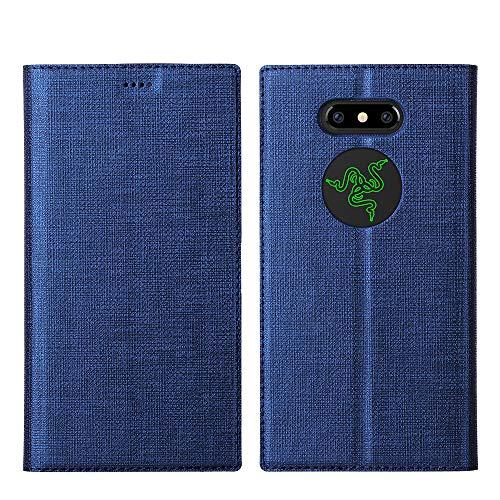 Razer Phone 2 Hülle,Leder Tasche Flip klappbares Hülle Cover Standfunktion Kartenfach Magnetverschluß Card Holder kristallklarer TPU Stoßstange Wallet Schutzhülle Handyhülle für Razer Phone 2 (Blau)