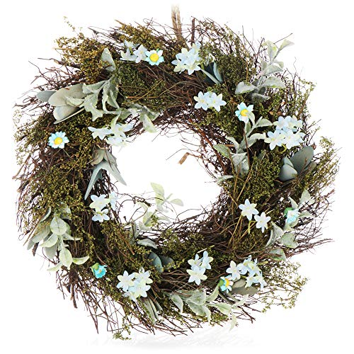 com-four® Corona de Pascua con Flores, Corona de Mesa Decorativa, se Puede Utilizar como Corona de Puerta con una Percha, diámetro Aprox.30 cm (Blanco. Azul)