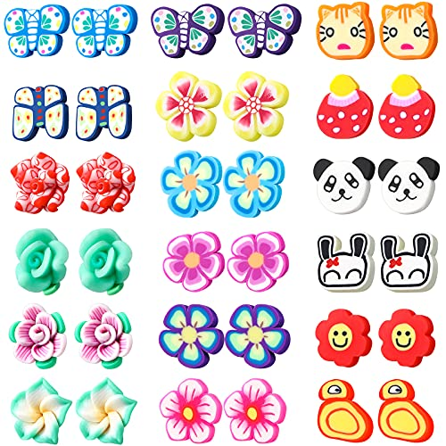 18 Pairs Kids Clip on Earrings Magnetic Stud Earring for Girls Colorful Cartoon Clip-on Earrings Non Piercing Stud Earring Dress Up Jewelry for Teens Girls (Funny Style)