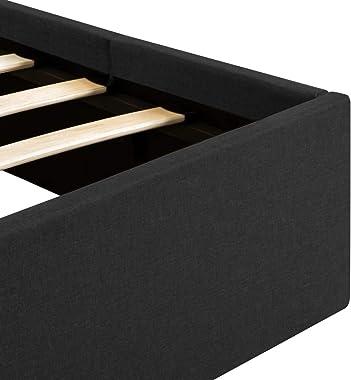 vidaXL Cadre de Lit à Stockage Hydraulique Lit Rembourré Lit Double Lit Adulte Lit Coffre Chambre à Coucher Maison Intérieur